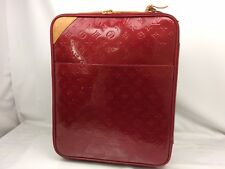 Auth LOUIS VUITTON Vernis Canvas Red Pegase 45 Travel Bag with cover 7i120020n