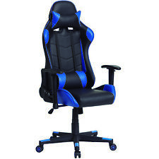 Sillon Giratorio GAMING color Azul y Negro Reposabrazo Reposacabeza Cojin Lum...