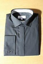 MENS BLACK SLIM FIT PLAIN COLLAR SHIRTS