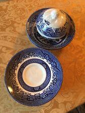 CHURCHILL England Blue Willow Saucer, Sugar Bowl, Mugs and Small Bowl 17 Pc Set
