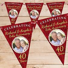Personalised 40th Ruby Wedding Anniversary PHOTO Flag Banner Bunting N61