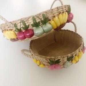 Vintage Boho Round Wicker Vegetable Baskets Set Of 2