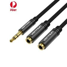 Fabric Braided 3.5mm Male to 2*3.5mm Female Stereo Splitter Cable 0.3M - Black