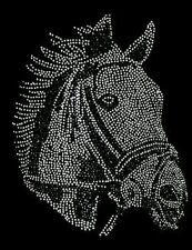 """HOTFIX RHINESTONES HEAT TRANSFER IRON ON """"SHINY HORSE BLING black and white"""""""