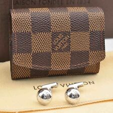 Authentic  Louis Vuitton Damier Cuff Links Case / Cuff Links Silver #S1617 E