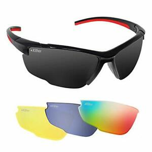 Kilter Men's Road Racer Cycling Sunglasses With 4 Interchangeable Lenses