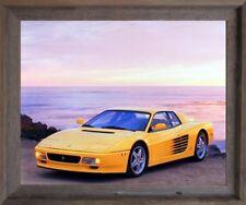 Yellow Ferrari Testarossa Transportation Old Car Wall Art Decor Framed Picture