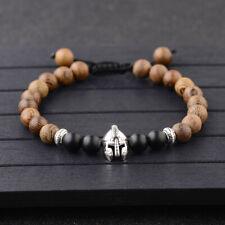 8mm Wooden Beads Helmet Head Jewelry Bangle Fashion Mens Bracelets Unisex