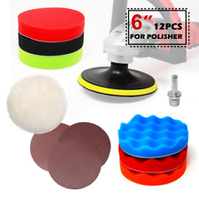 """12PC 6"""" hook and loop polishing sangding buffing pad plate sand disc kit"""