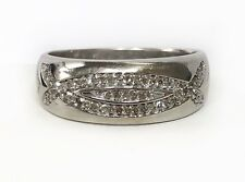 18k Solid White Gold 0.40 Ct Natural Diamond Mens Cluster Ring 5.3 Grams, Size10