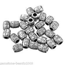 GB 50PCs Dull Silver Tone Plastic Acrylic Printing Beads Oval 9x8mm