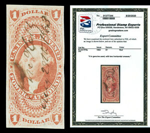 Scott R75a 1862 $1.00 First Issue Revenue Used VF Cat $100 with PSE CERTIFICATE!