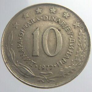 1977 Yugoslavia 10 Dinara KM# 62 Coin Copper Nickel State Emblem Ten Dinara V363