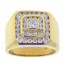 2.80ct ROUND Channel & Bezel Set Diamond Mens Ring in 14K Yellow Gold