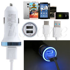 Type C USB Charging Cable+LED Light Car Charger Fr Sansung S8 Huawei 5X/6P LG G5