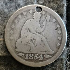 1854 US Philadelphia Mint Silver Seated Liberty Quarter - Type 3 - Hole
