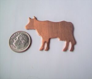 10 Pcs. Raw Copper Blanks, Stampings - FARM ANIMAL, COW SHAPE