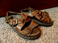 DR. MARTENS Sandals womens 5 Brown Leather Chunky Strappy Platform England shoes