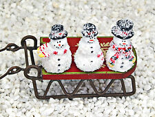 Miniature Snowmen ~ Set of 3 ~ Fairy Garden Miniature ~ Christmas Ornament