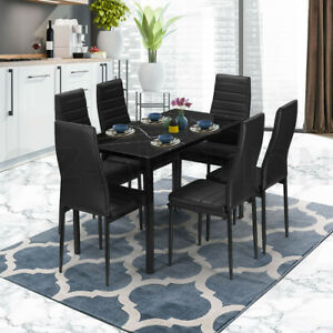 Glass Dining Table Set Black with 6 Faux Leather Chairs Seat Kitchen Furniture