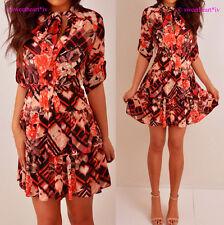 Bebe Red Pink Peach Black Teired Tie Neck Ruffle Mini Dress XS NWT $79.00