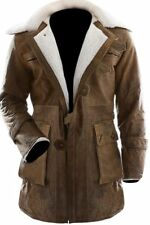 The Dark Knight Rises Bane Tom Hardy Faux Shearling Brown Leather Trench Coat