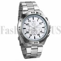 Men's Stainless Steel Band Quartz Analog Wrist Watches Luminous Large Numeral