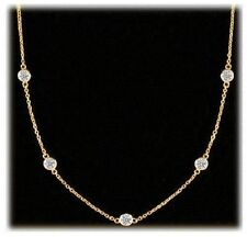 1.01 ct Round Diamond By The Yard Necklace 14k Yellow Gold 5 x 0.20 ct VS/SI1