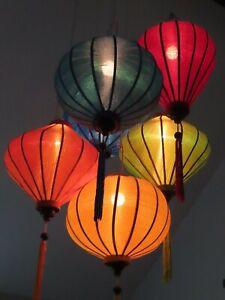 Vietnamese Silk Lantern-Blue