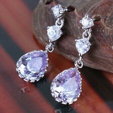 New arrival ! dangle Fashionable 18k white gold filled purple sapphire earring