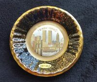 VTG ART OF CHOKIN~24kt GOLD EDGED NEW YORK PLATE~Japan~Twin Towers / Empire St