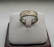 TITAN & 14K YELLOW GOLD DIAMOND WEDDING BAND 6.8 MM WIDE SIZE 6.5