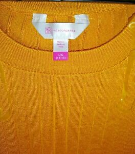Gold Pull over Long Sleeved Ribbed Top Size L 11-13 Jr