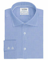 T.M.Lewin Mens Optical Check Regular Fit Blue Single Cuff Shirt