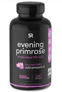 Evening Primrose Oil (500mg) 240 Mini-Liquid Softgels, Cold-Pressed with No fill