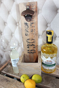 Gin & Tonic Bottle Opener-Wall Mount-Wooden with(out) cap catcher Wedding GIFT