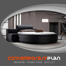 Circle Bed - Black Platformed Round Modern Queen Bed w Nightstands T10