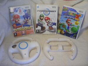Nintendo Wii Games Bundle - Mario Kart / Wheels / Super Mario