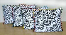 "Grey Color Flower Ombre Mandala Cotton Square Cushion Cover 20""X20""Inch Indian"