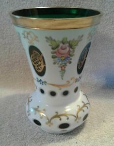 """Vintage Moser Bohemian Czech White Cased Cut to Green Glass Vase 5-1/2""""  Tall"""
