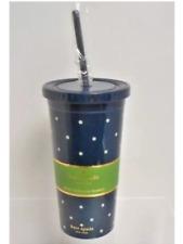 Kate Spade New York Insulated Tumbler w/ Straw Navy Blue Acrylic Cup Larabee Dot