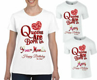 Personalised Queens Are Born In T-Shirt, Happy Birthday Gift Kids & Adults Top