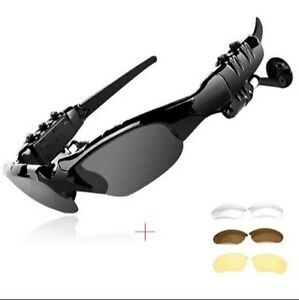 New Advanced Bluetooth Wireless Black Smart Glasses+Microphone&3 Extra lenses🕶