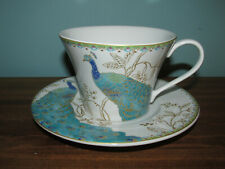 Beautiful 222 FIFTH PEACOCK GARDEN TEA CUP & SAUCER Tea White Gold
