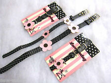 Lovabledog small dog collar Black and white polka dot with pink flower 2 sizes