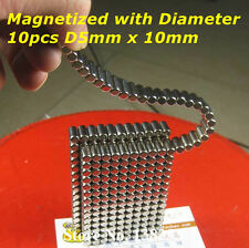 10pcs Strong N48 Cylinder Rod Magnet Dia 5 x 10mm Rare Earth Neodymium Magnets