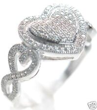 Solid 925 Sterling Silver Lab Simulated Diamond Heart Ring Sz-5 '