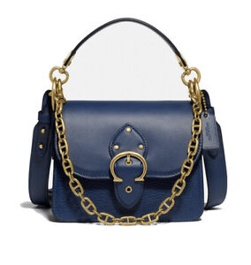 ❤️ Coach Beat Deep Blue Shoulder Bag In Mixed Leather