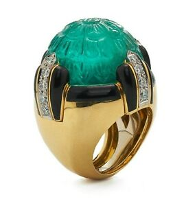 Men's Ring 14k Yellow Gold Plated 925 Sterling Silver Carved Emerald Enamel Fine
