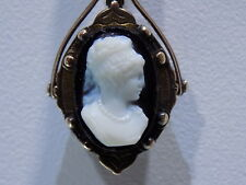 Antique Cameo Double Sided Locket Banded Agate 14K Gold Fob Pendant